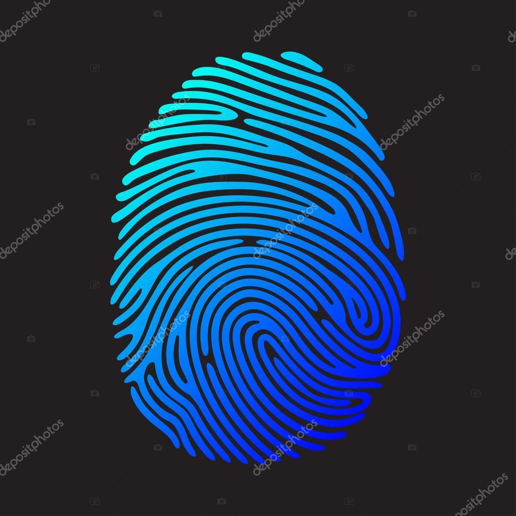 Impronta Digitale Di Colore Blu Vettoriali Stock Nreyad 105254614