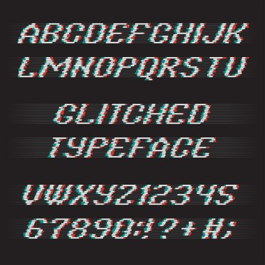 Glitch alphabet. Glitch letters and glitch numbers. Glitched typeface with glitch noise shadow. Glitch font set on black background. Vector glitch. stock vector