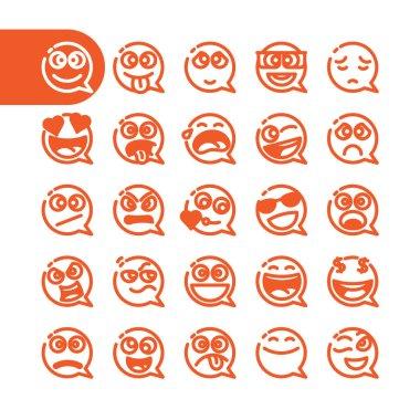 Set of emoji speech bubble emoticons