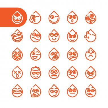 Set of emoji emoticons