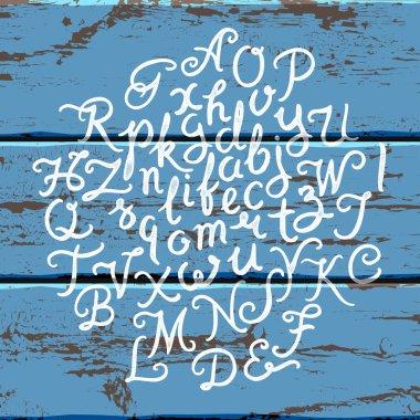 Handwritten alphabet wood set