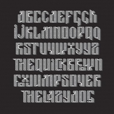 The latin stylization of Old slavic font