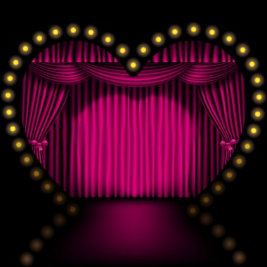 Heart shape stage with pink curtain and lights stock vector