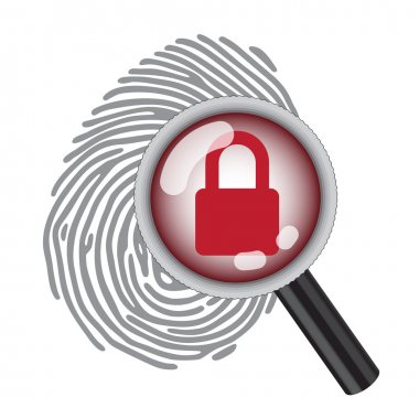 Finger print with magnifying glass and lock stock vector