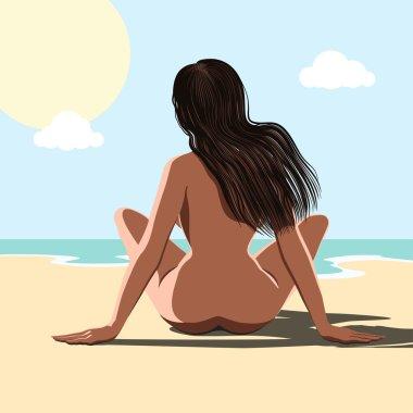 Naked woman at sea