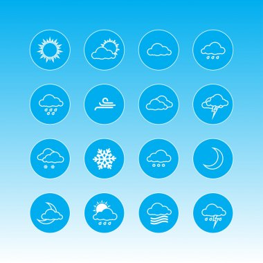 Weather forecast icons in blue rounds stock vector