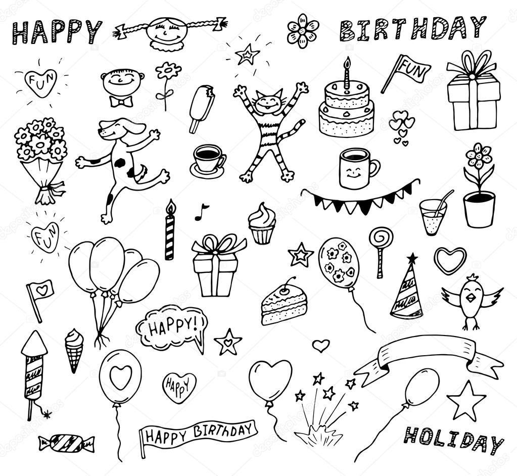 Vector Set Van Verjaardag Doodles Stockvector 169 Ciklamen