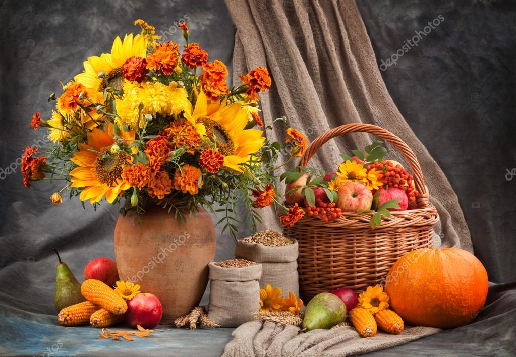 Autumn still life. Flower, fruit and vegetables