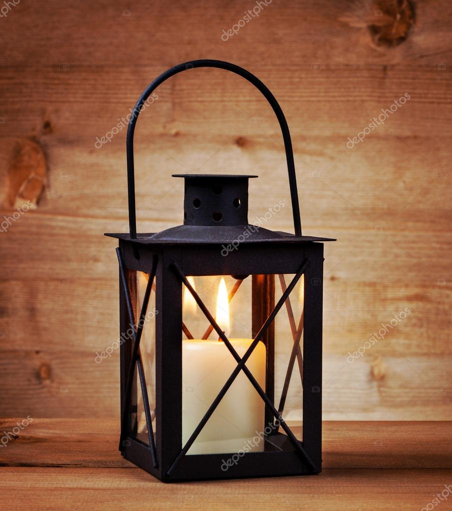 Vintage lantern with candle