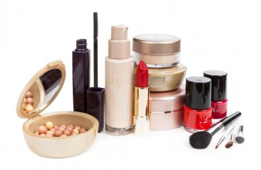Cosmetics set isolated