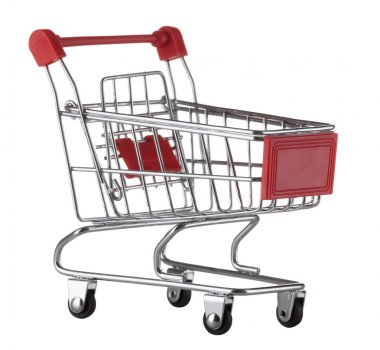 supermarket trolley isolated on white background. Shopping cart.