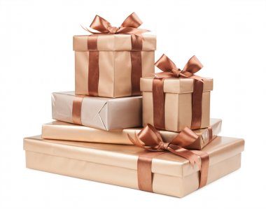 box with gifts and brown bow isolated on white background