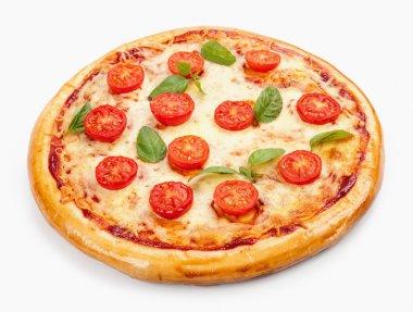 Pizza Margherita. Tomato, basil leafs. Isolated on white backgro