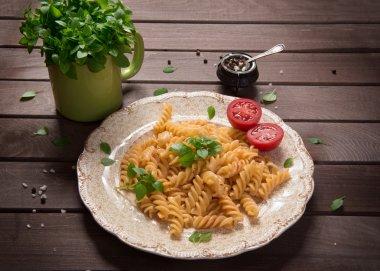 fusilli pasta on a plate