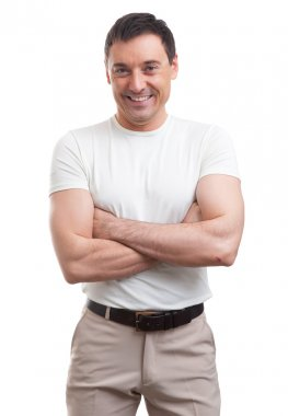 Muscular handsome man wearing a white T-shirt. isolated stock vector