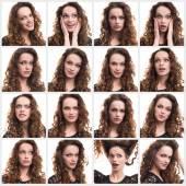 Koláž různých emocí žena