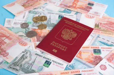 Passport with Russian money rubles