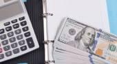 peníze, kalkulačka a notebook