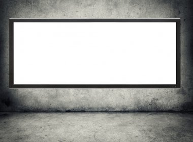 Tv winh blank screen hanging on a grunge wall stock vector