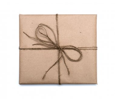 parcel wrapped with brown kraft paper isolated on white backgrou