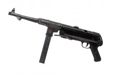 World War II German machinegun MP-38 on white background. Isolated with clipping path stock vector