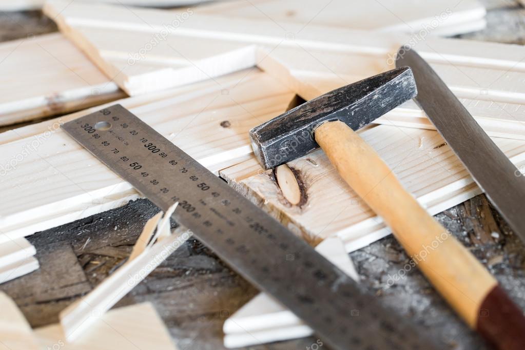 Hammer Messer Lineal Und Nut Und Feder Bretter Auf Arbeit Pla