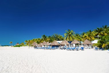 Caribbean beach with sun umbrellas and bed