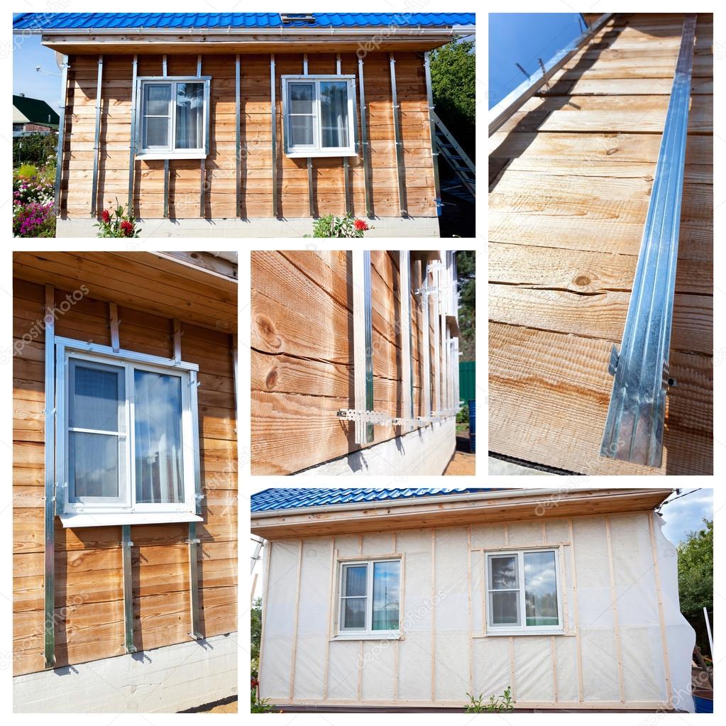 Collage con processo di isolamento pareti esterne in casa di legno ...