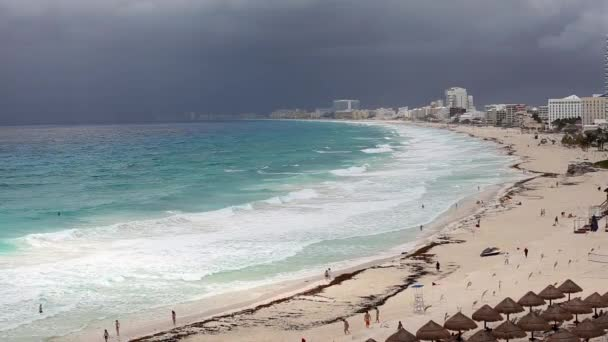 Cancun beach panorama view in bad weather