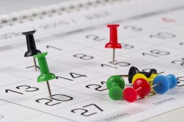 Calendar digits with pins