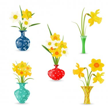 vases with yellow spring flowers.