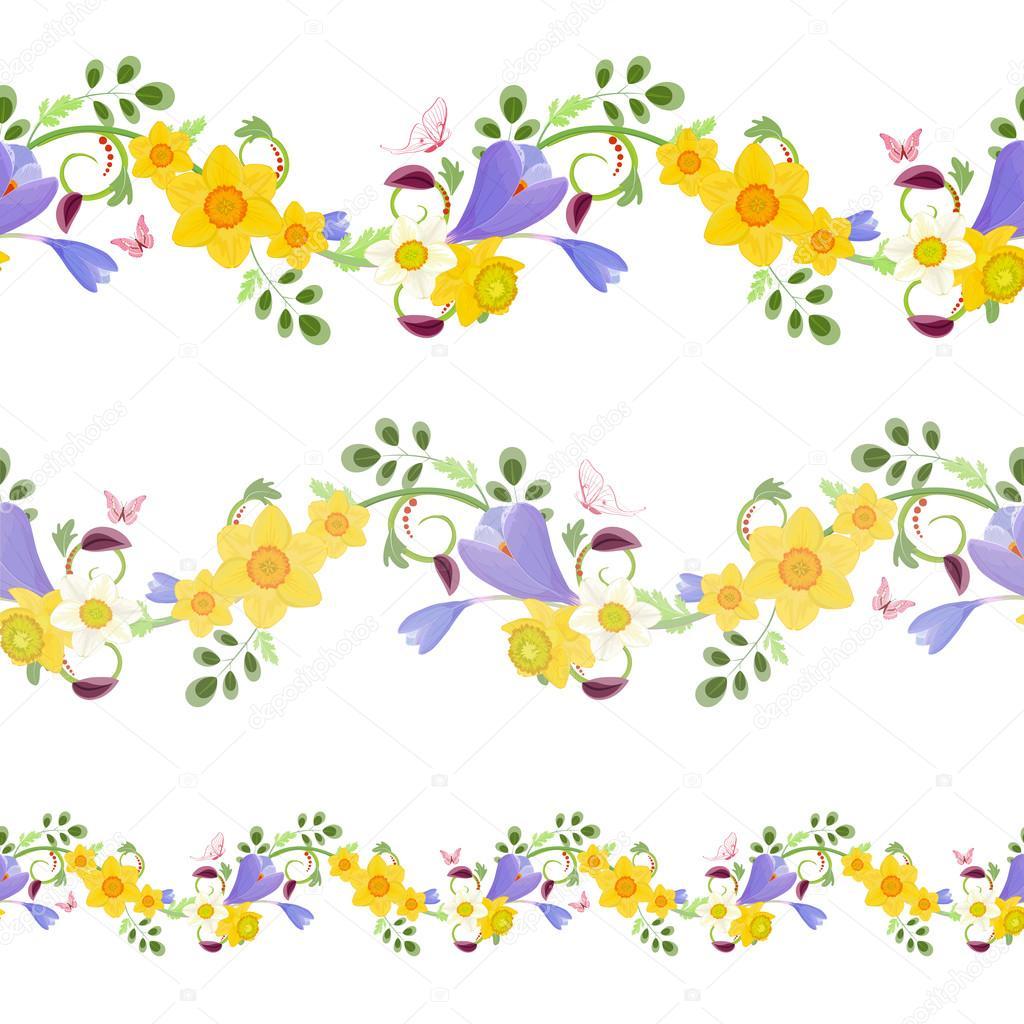 Seamless Borders With Spring Flowers Stock Vector Oksana 100958576
