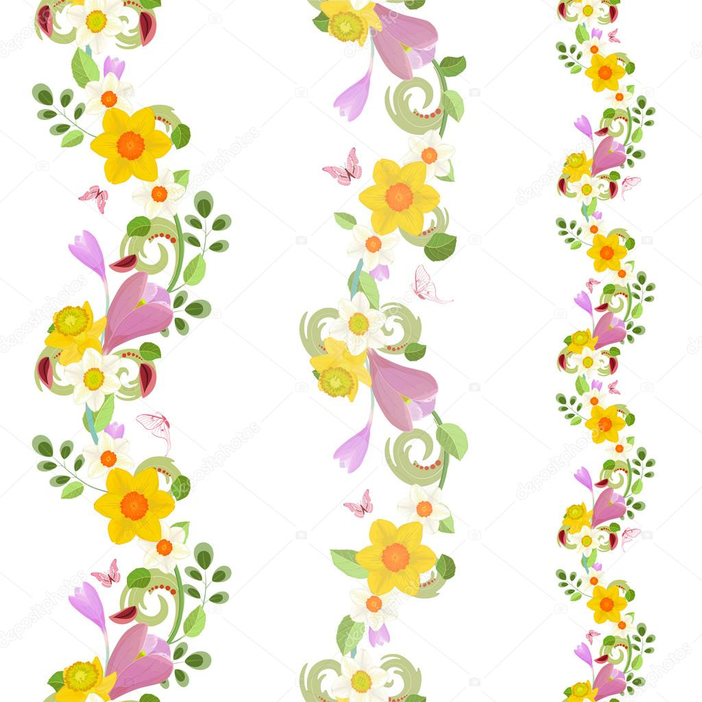 Seamless Borders With Spring Flowers Stock Vector Oksana 100958596