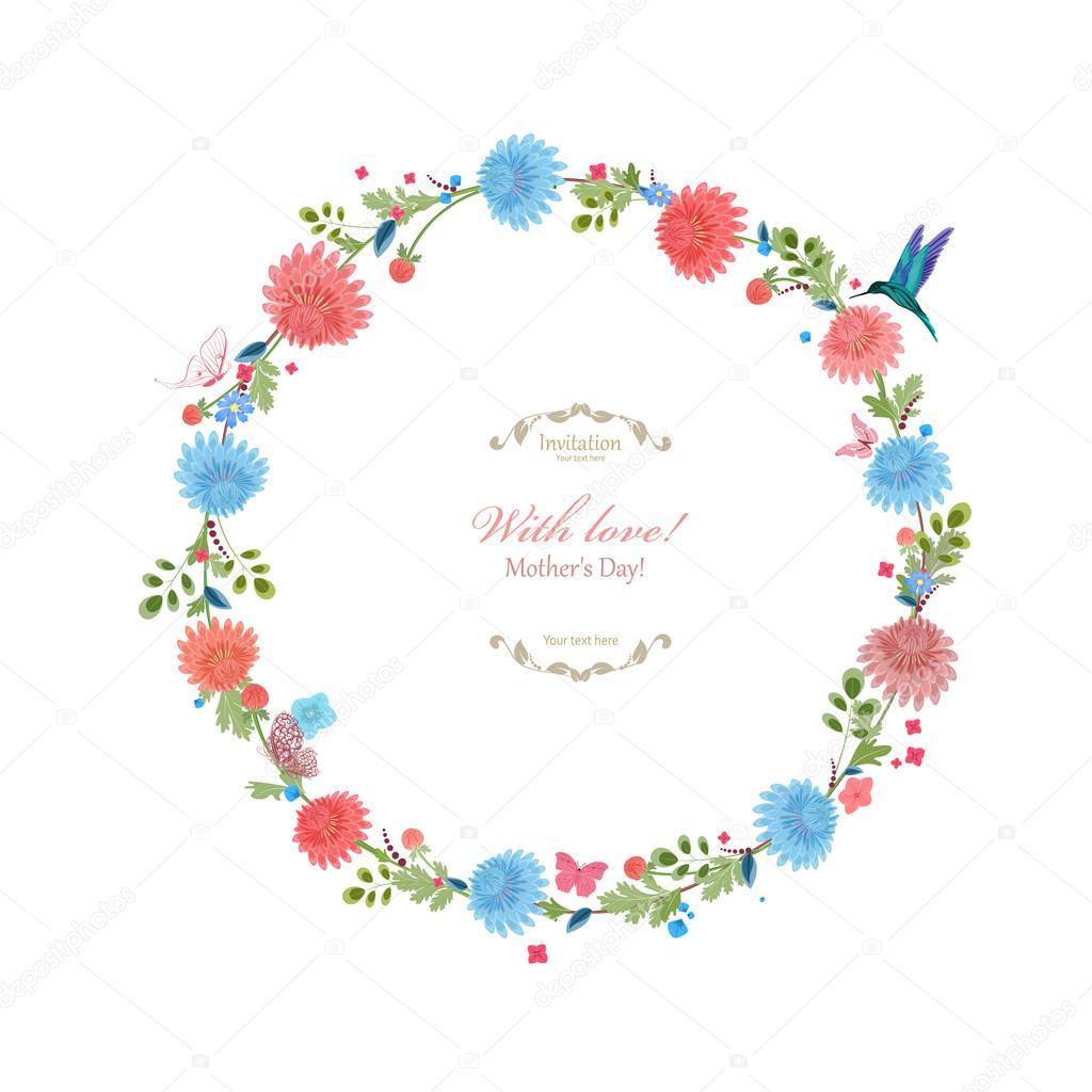 marco floral redondo para su diseño — Archivo Imágenes Vectoriales ...