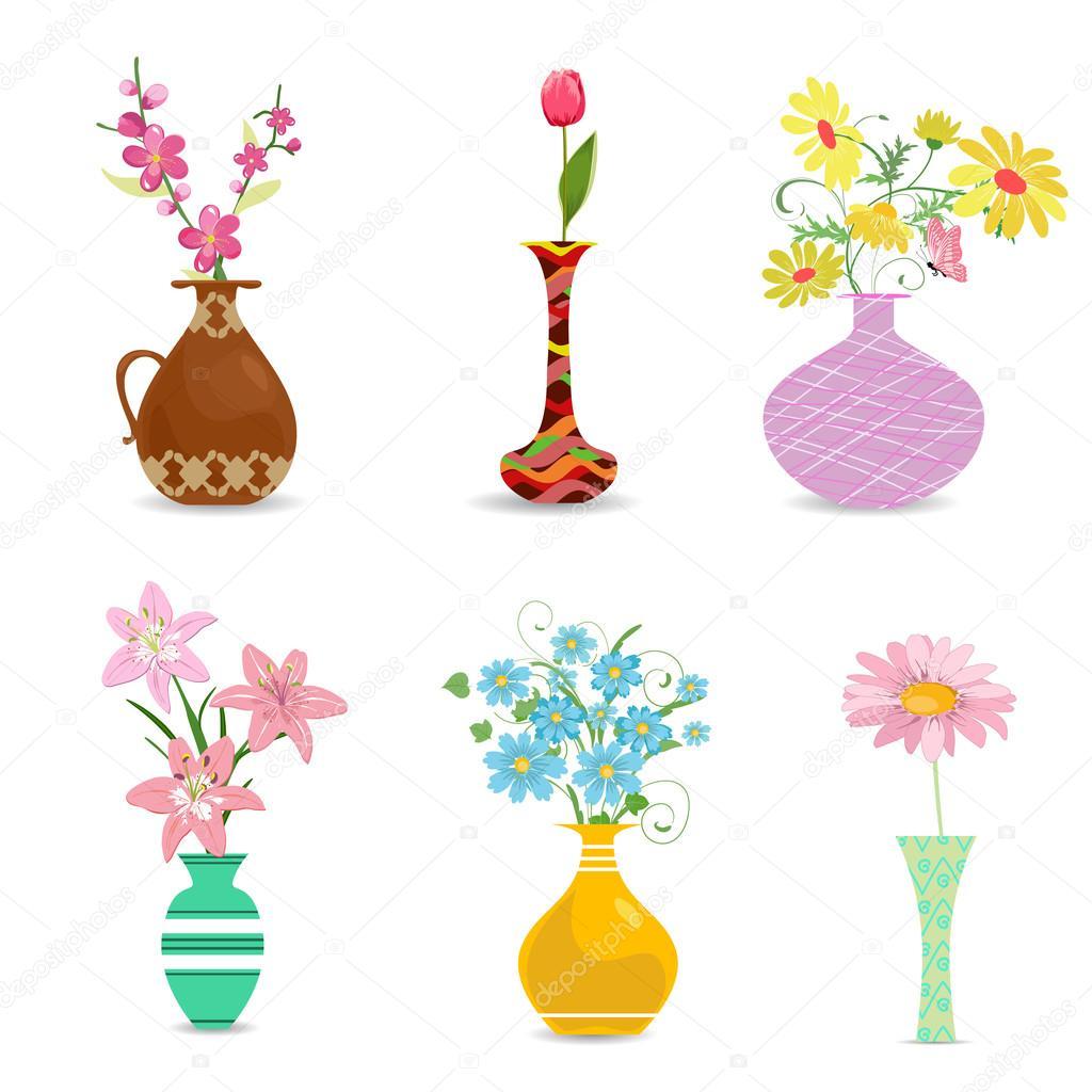 jarrones decorativos con flores u vector de stock