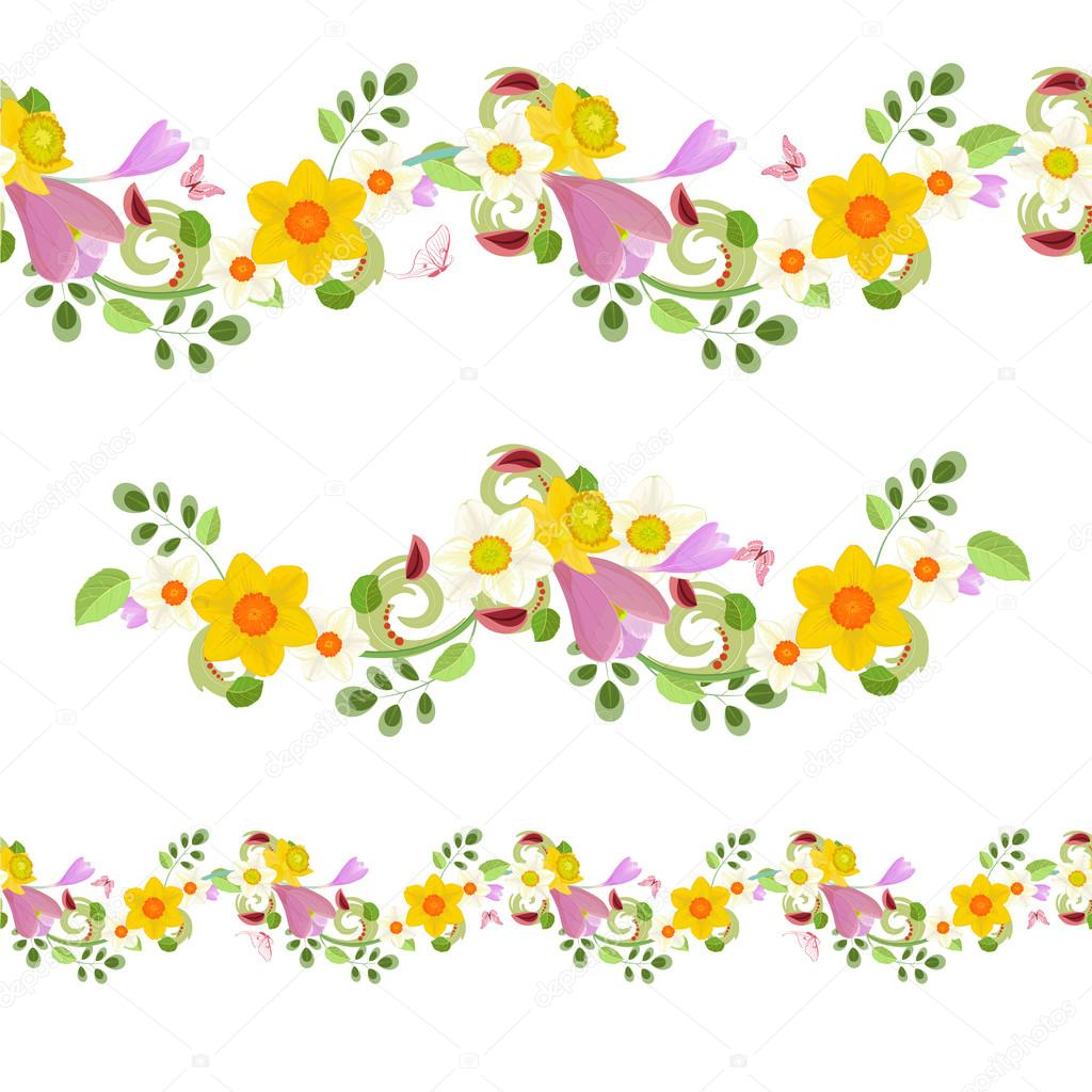 Horizontal Floral Borders Stock Vector Oksana 108122160