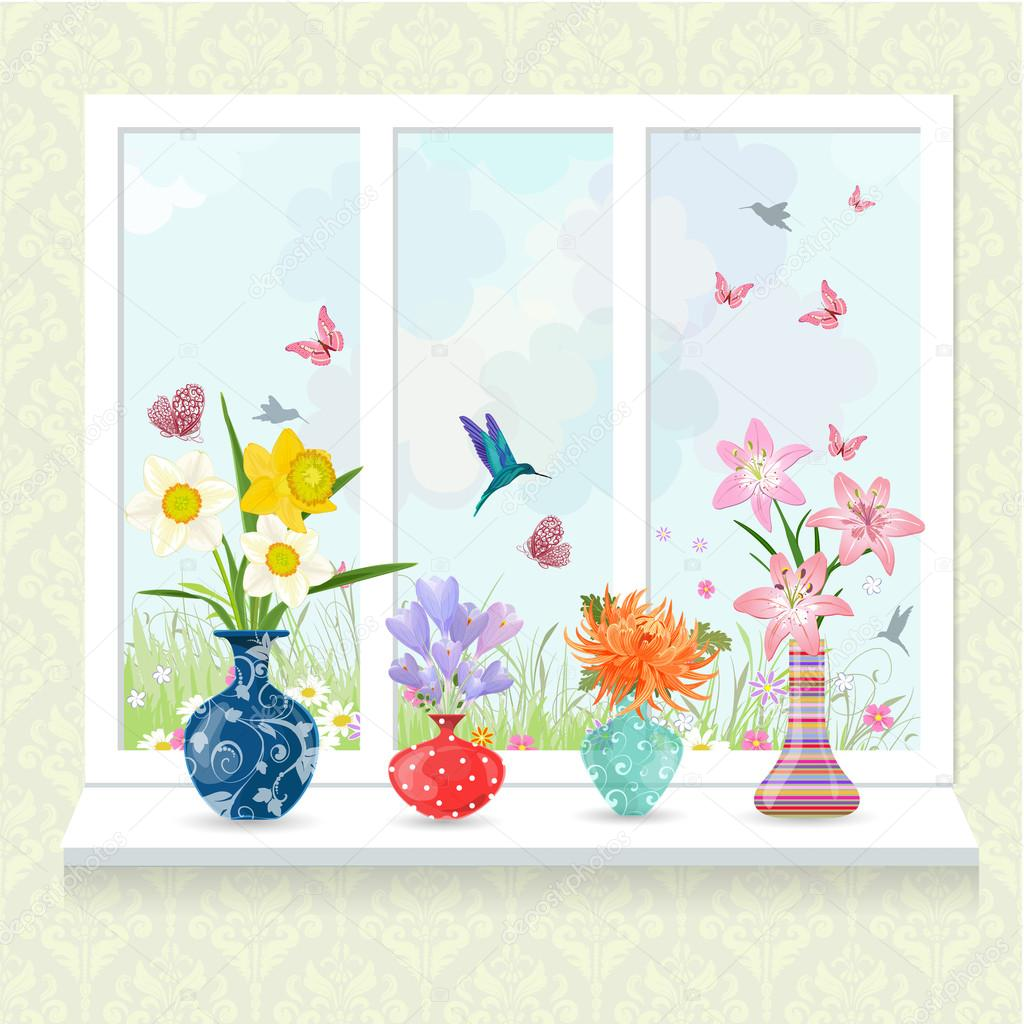 Modern glass vases with flowers stock vector oksana 114614930 modern glass vases with flowers stock vector 114614930 reviewsmspy