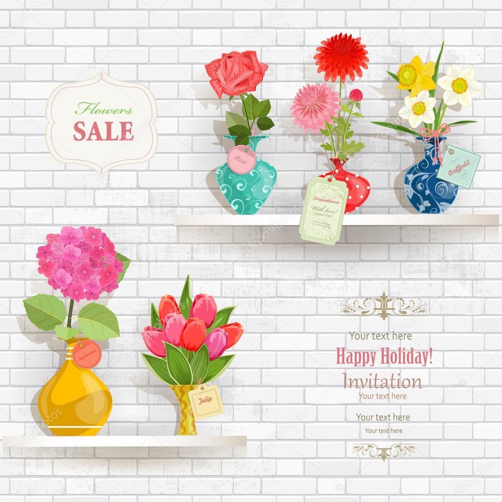 Belles Fleurs Dans Des Vases Modernes Image Vectorielle Oksana