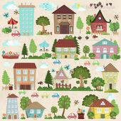 Fotografia case e alberi