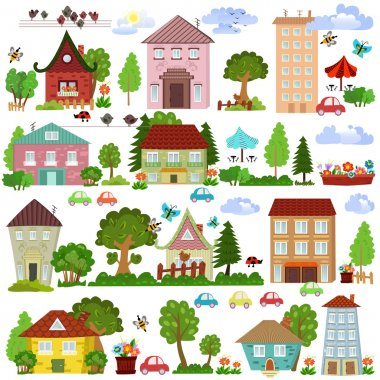 Cartoon houses and trees