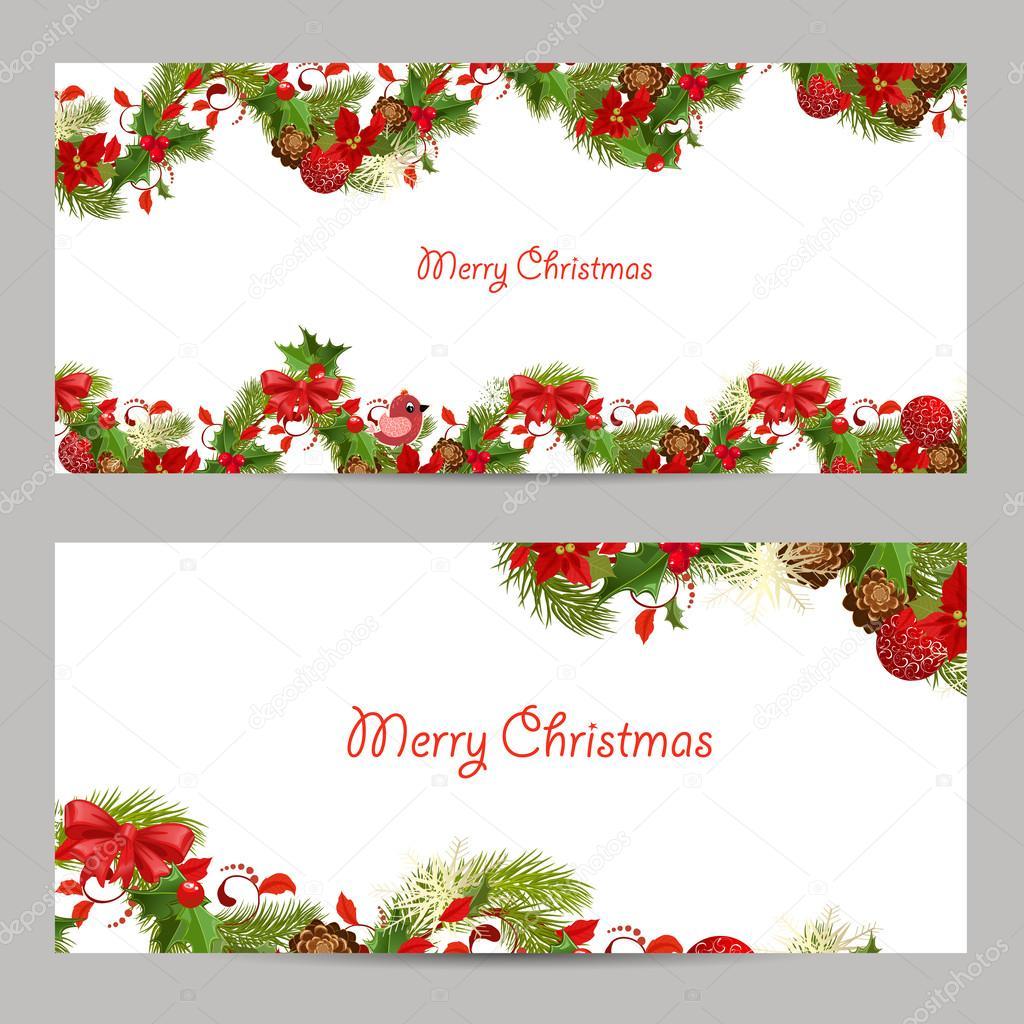 Navidad Set De Tarjetas De Invitación Vector De Stock