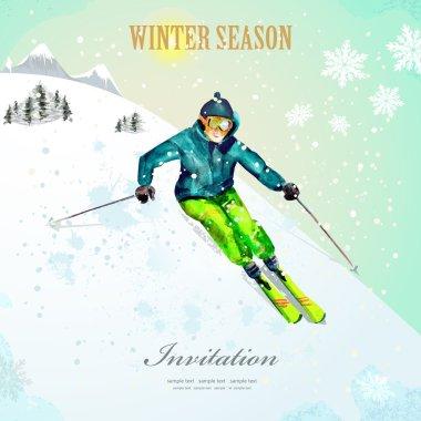 Poster with girl skiing at ski resort