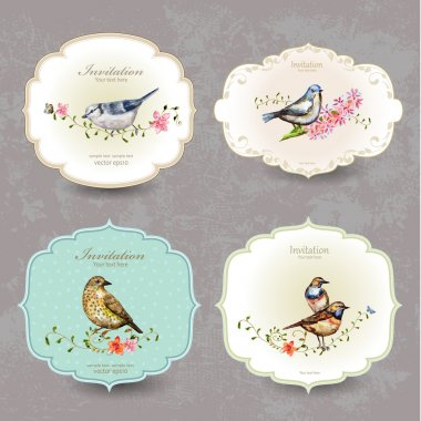 Collection retro label of cute birds