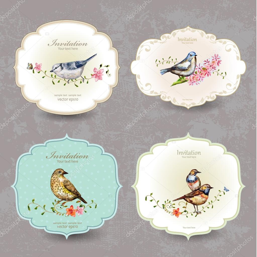 Collection retro label of cute birds