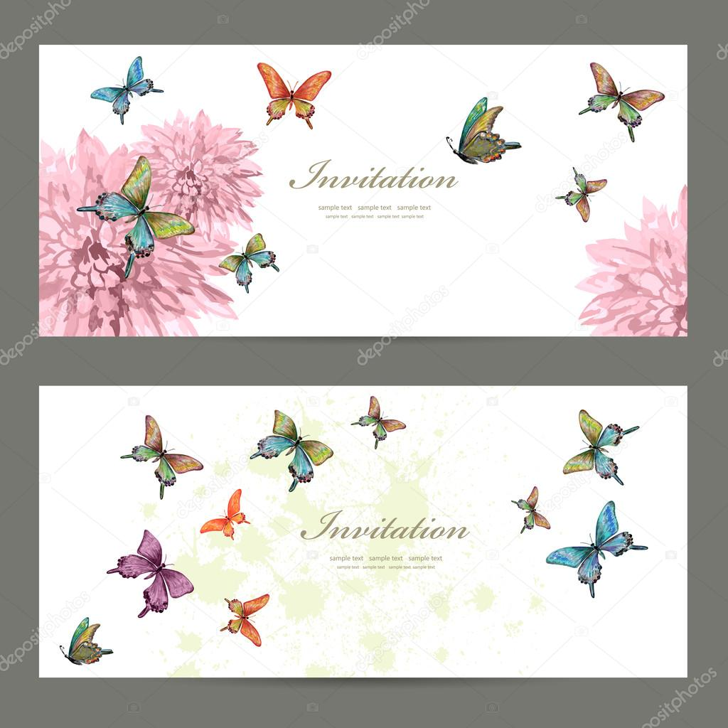 invitation cards with butterflies