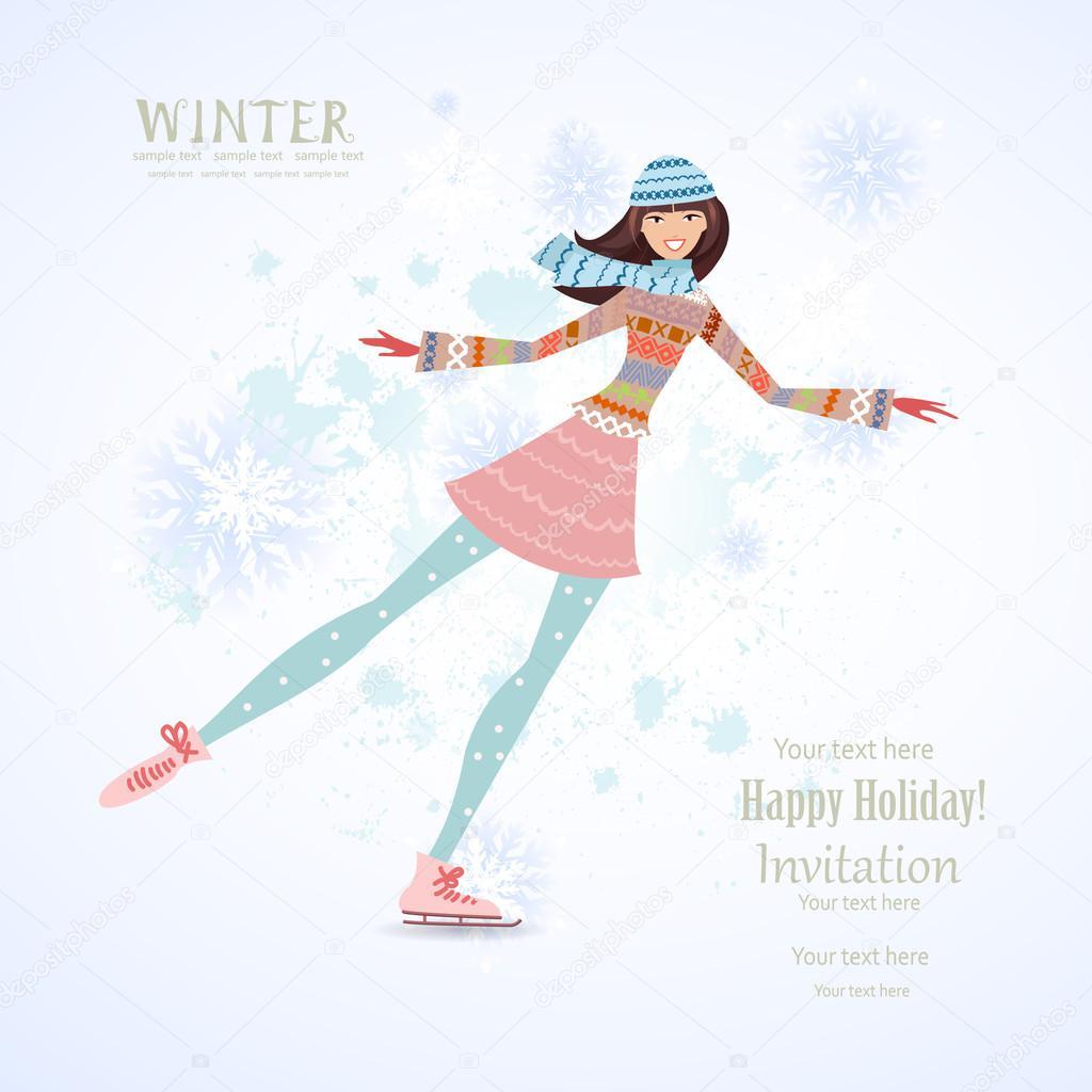 happy girl skating on ice