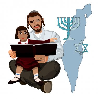 Dad reads the Talmud child sitting on hands