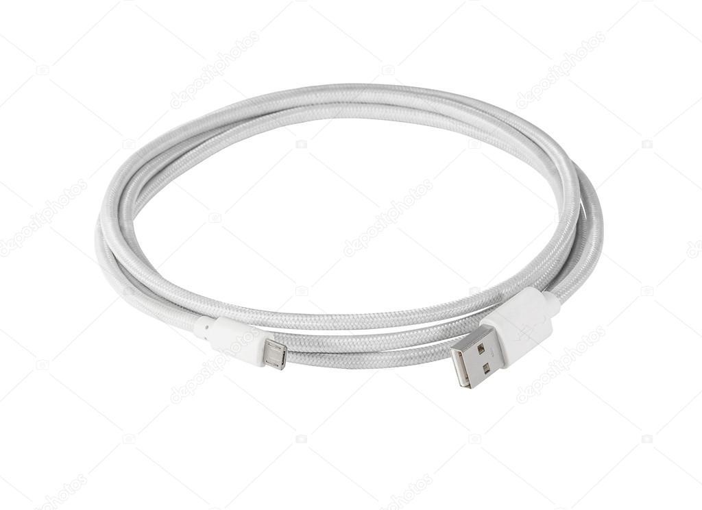 Weiß Geflochtene Draht USB-Miniusb Kabel — Stockfoto © irogova ...