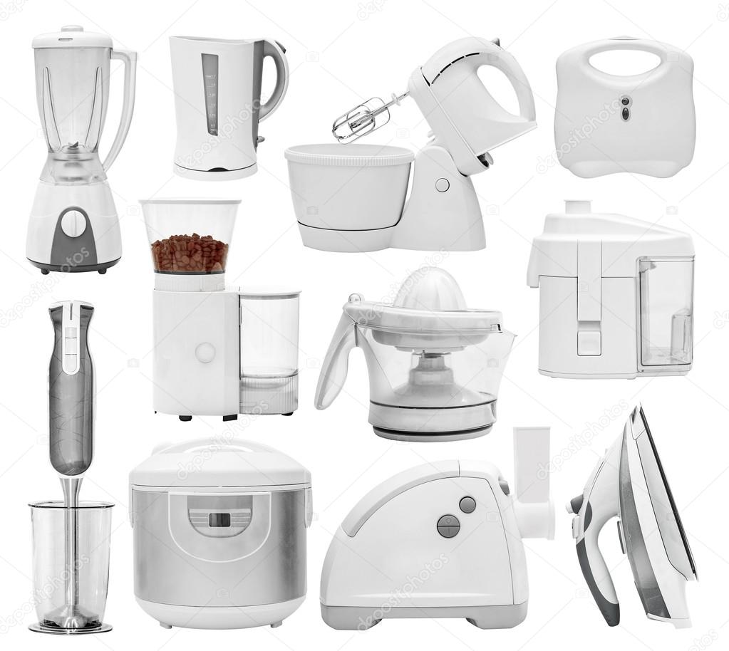 Set of different types of kitchen appliances, devices, equipment ...