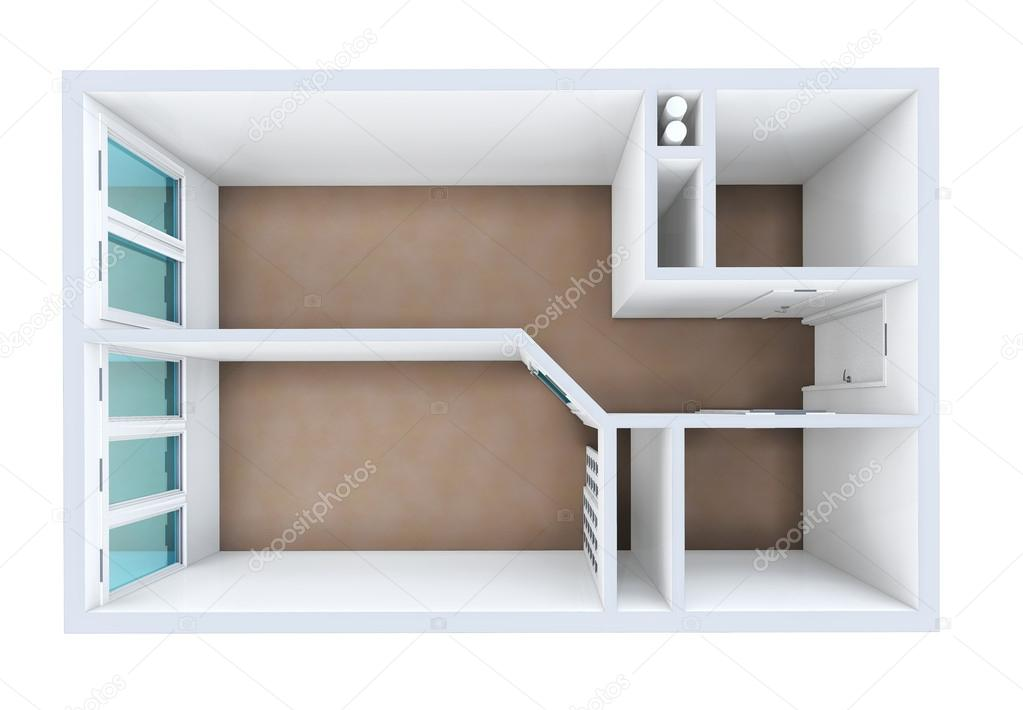 3D Rendering. Model Of The One Room Apartment. The Empty Apartment Without  Furniture, Bathroom Equipment And Finishing. U2014 Photo By Irogova